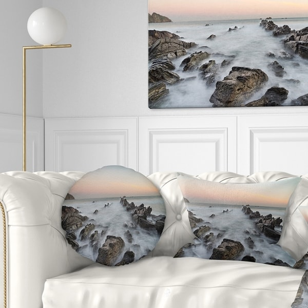 Designart 'Rocky Beach with White Waters' Modern Seashore Throw Pillow