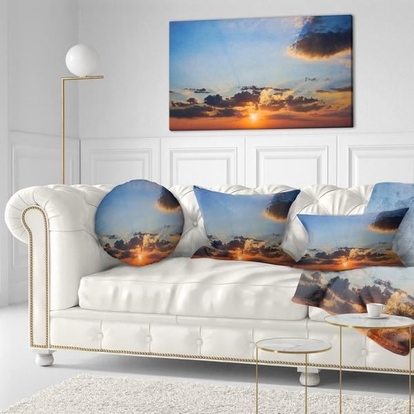 Designart 'Beautiful Cloudy Sunset Panorama' Seascape Throw Pillow