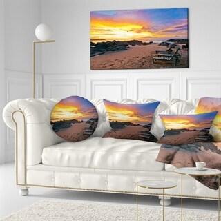 Designart 'Khao Lak Beach View at Sunset' Modern Seashore Throw Pillow