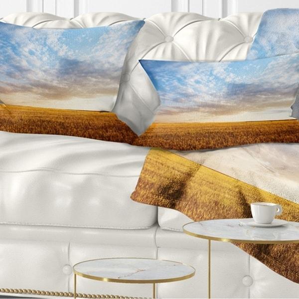Designart 'Wheat Field under Summer Sky' Landscape Printed Throw Pillow