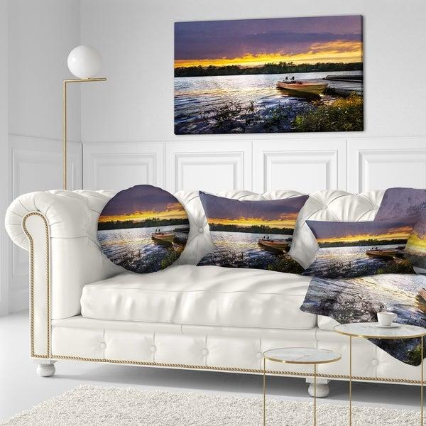 Designart 'Boat Docked in Lake at Sunset' Modern Seashore Throw Pillow