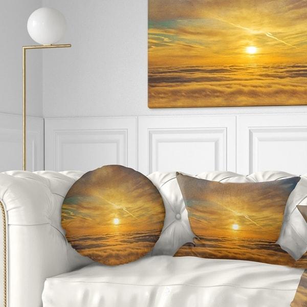 Designart 'Golden Sunset over Clouds' Oversized Beach Throw Pillow