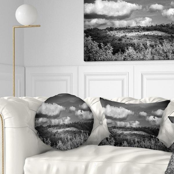 Designart 'Green Hills under Cloudy Sky' Landscape Printed Throw Pillow