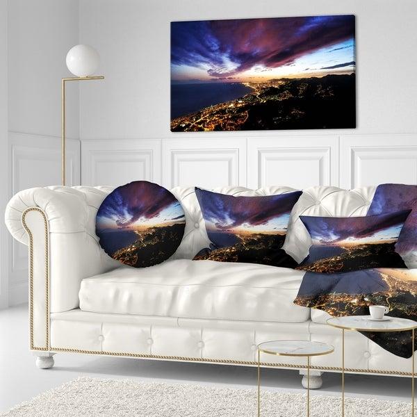 Designart 'Barcelona Skyline Panorama' Cityscape Throw Pillow