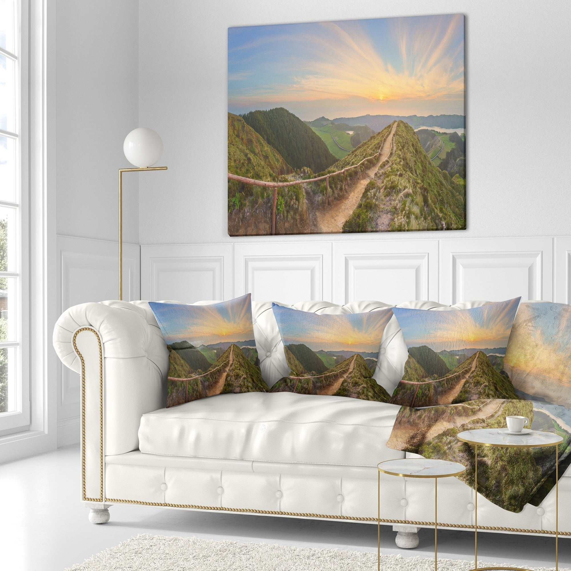 Designart Hiking Trail And Beautiful Lakes Contemporary Landscape Printed Throw Pillow On Sale Overstock 20944292