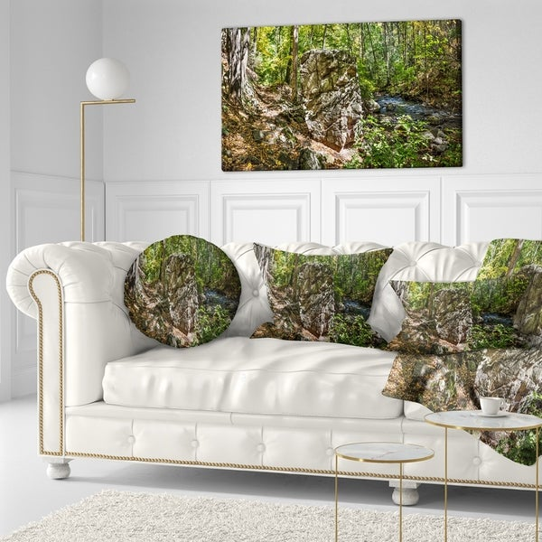 Designart 'Huge Rock in Black River Shore' Landscape Printed Throw Pillow