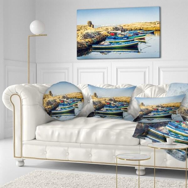 Designart 'Ancient Phoenician Port Africa' Landscape Printed Throw Pillow