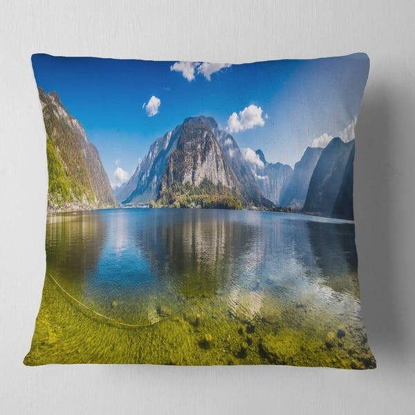 Designart Crystal Clear Mountain Lake In Alps Landscape Printed Throw Pillow Overstock 20944355