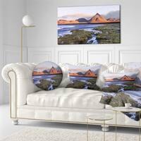 Designart 'Colorada lagoon and Volcano Pabellon' Landscape Printed Throw Pillow
