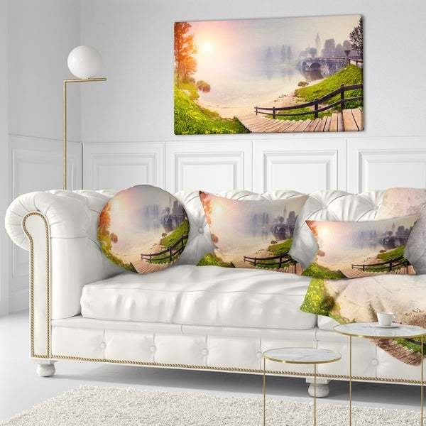 Designart 'Majestic Foggy Morning in Lake' Landscape Printed Throw Pillow