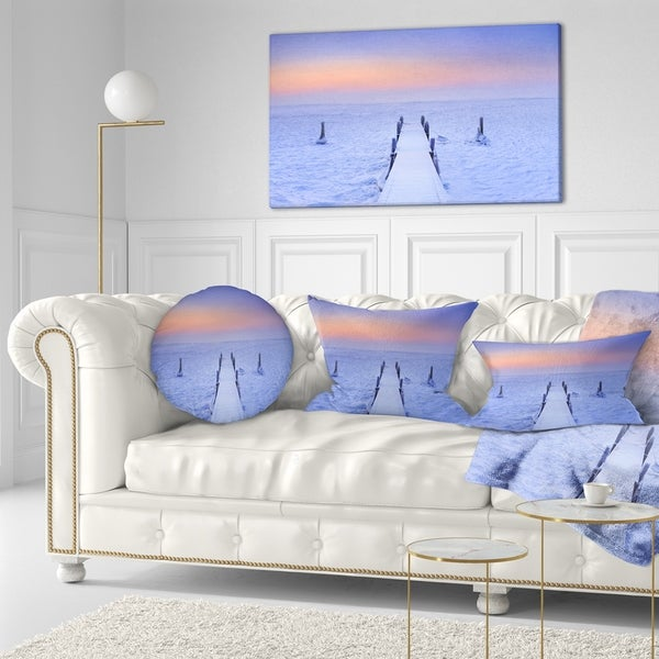 Designart 'Jetty in Frozen Lake Netherlands' Wooden Sea Bridge Throw Pillow