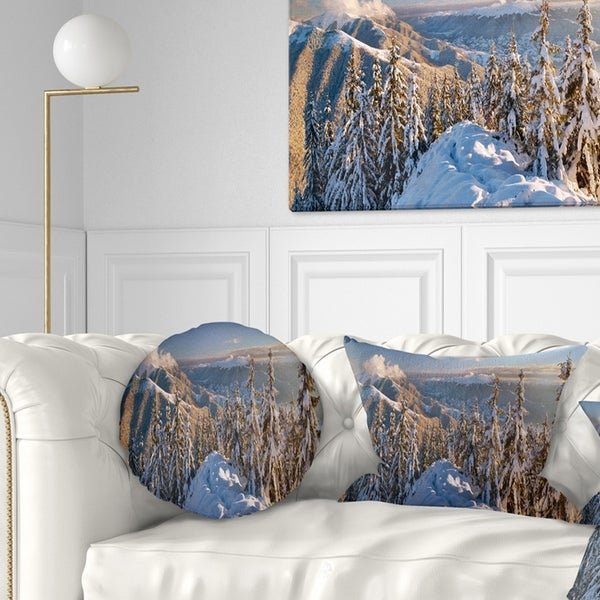 Designart 'Winter Carpathians Panoramic View' Landscape Printed Throw Pillow