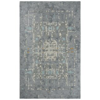 Rizzy Home Mod Abstract Grey Wool Area Rug - 8' x 10'