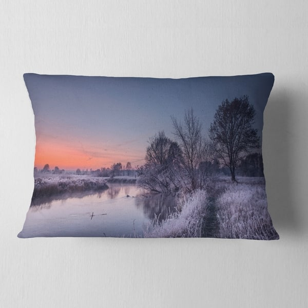 Designart Frosty Fall Morning Panorama Landscape Printed Throw Pillow On Sale Overstock 20944599