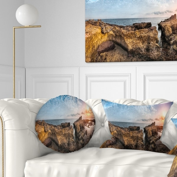 Designart 'Bright African Seashore Panorama' Oversized Beach Throw Pillow