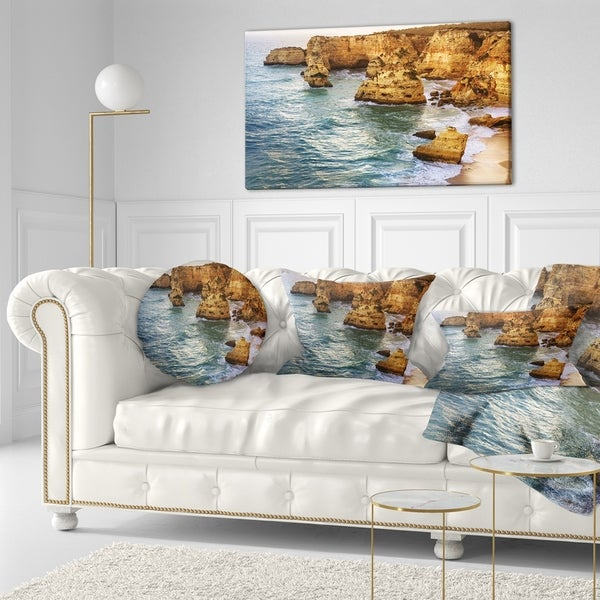 Sofa Throw Pillow 18 In Designart Cu11308 18 18 Golden Rocks And Beach At Algarve Seashore Cushion Cover For Living Room In X 18 In Insert Printed On Both Side Throw Pillow Covers Decorative