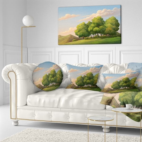Designart 'Green Mounds with Green Trees' Landscape Wall Throw Pillow