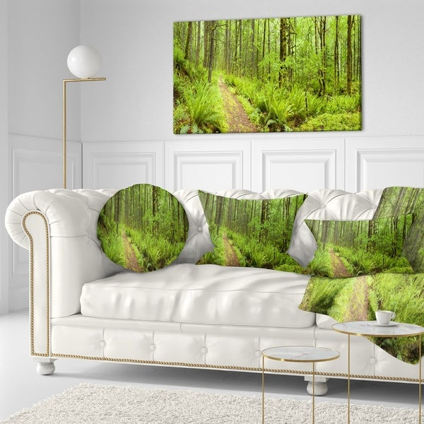 Designart 'Lush Forest Path Columbia River' Forest Throw Pillow -  Design Art