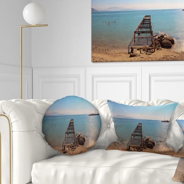 Designart 'Old Pier at Beach Panoramic View' Wooden Sea Bridge Throw Pillow