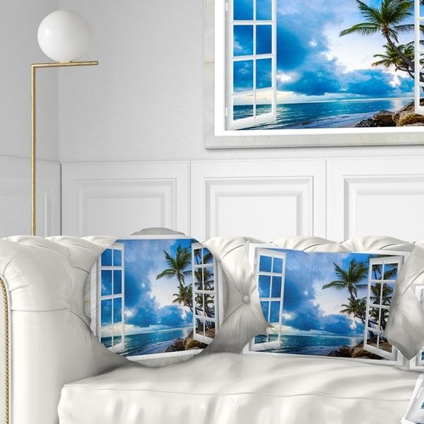 Designart 'Window Open to Cloudy Blue Sky' Landscape Wall Throw Pillow