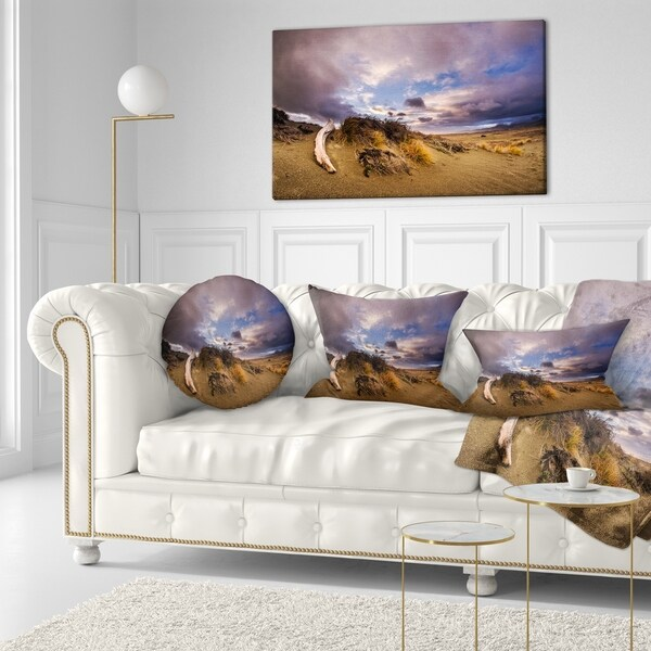 Designart 'Old Wooden Trunk in the Sunset' Modern Seascape Throw Pillow