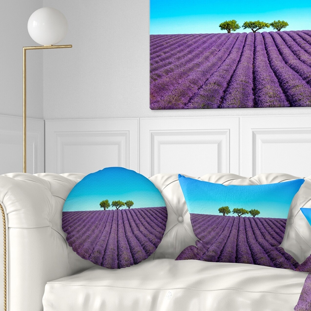 Designart Lavender Flowers And Uphill Green Trees Landscape Wall Throw Pillow On Sale Overstock 20944803