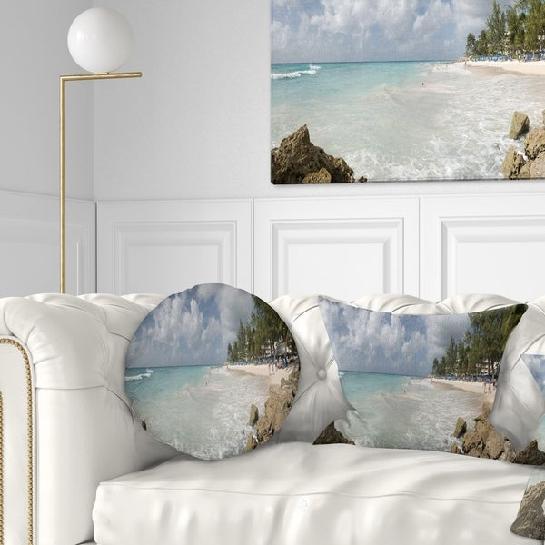 Designart 'Barbados Island White Seashore' Modern Seascape Throw Pillow
