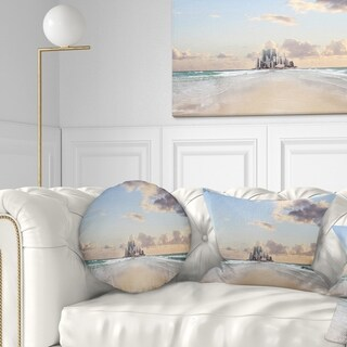 Designart 'Road along the Beach to City' Modern Seascape Throw Pillow