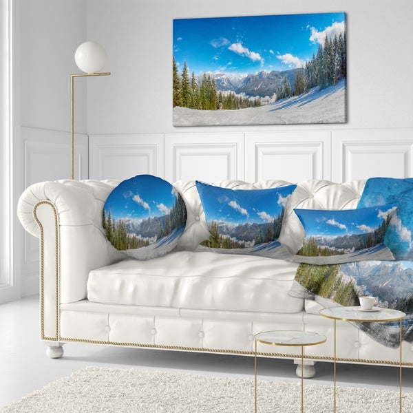 Designart 'Austrian Alps Seen From Ski Slope' Landscape Printed Throw Pillow