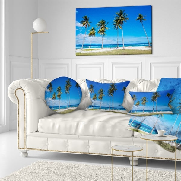 Designart 'Palms on Philippines Tropical Beach' Modern Seascape Throw Pillow