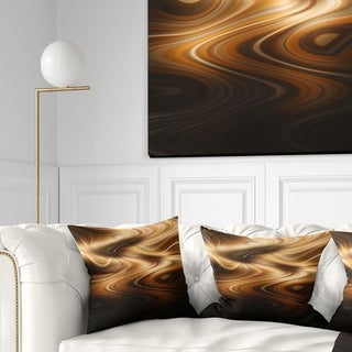 Designart 'Brown Curved Waves Texture' Abstract Throw Pillow