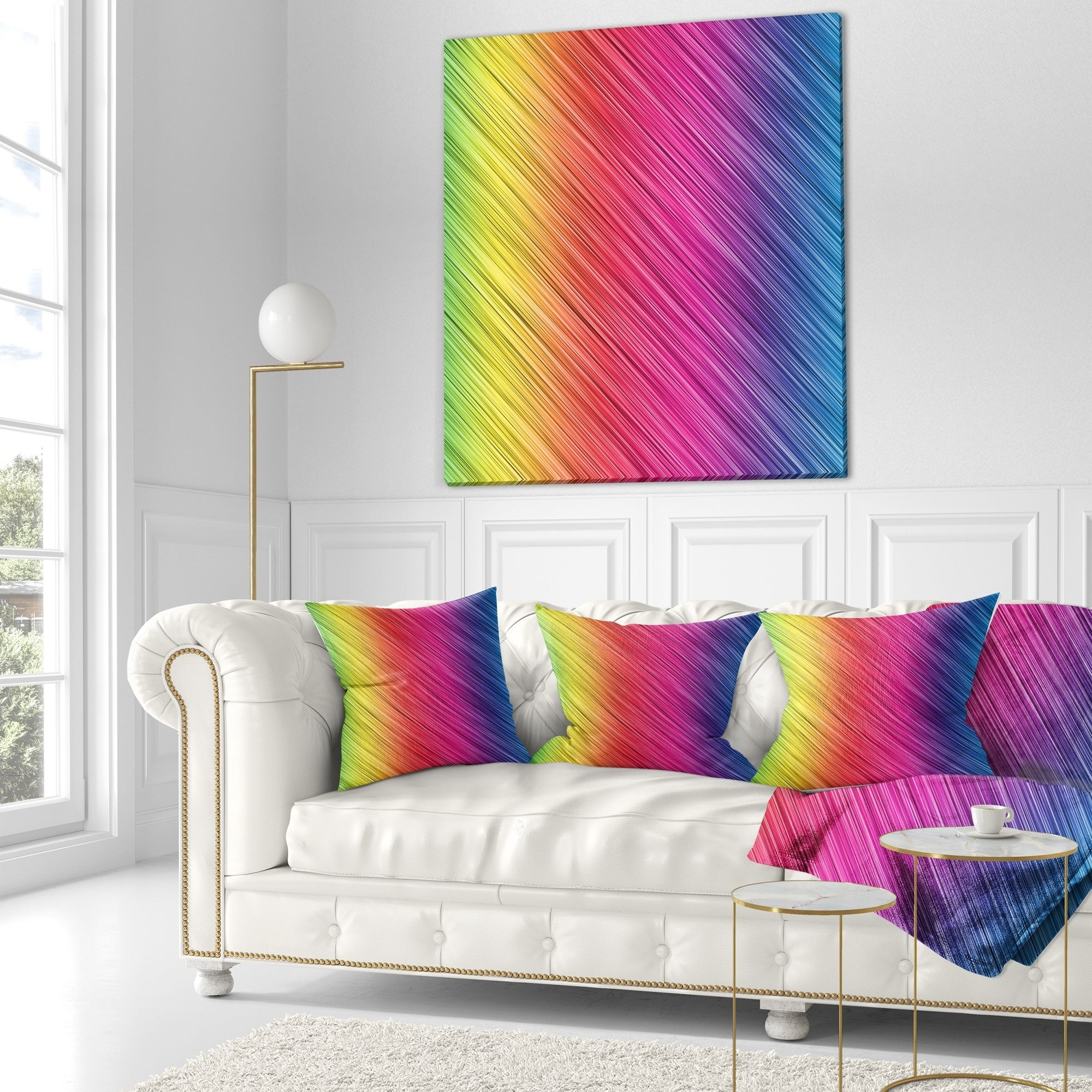 Designart Multi Color Neon Glowing Lines Abstract Throw Pillow On Sale Overstock 20945088