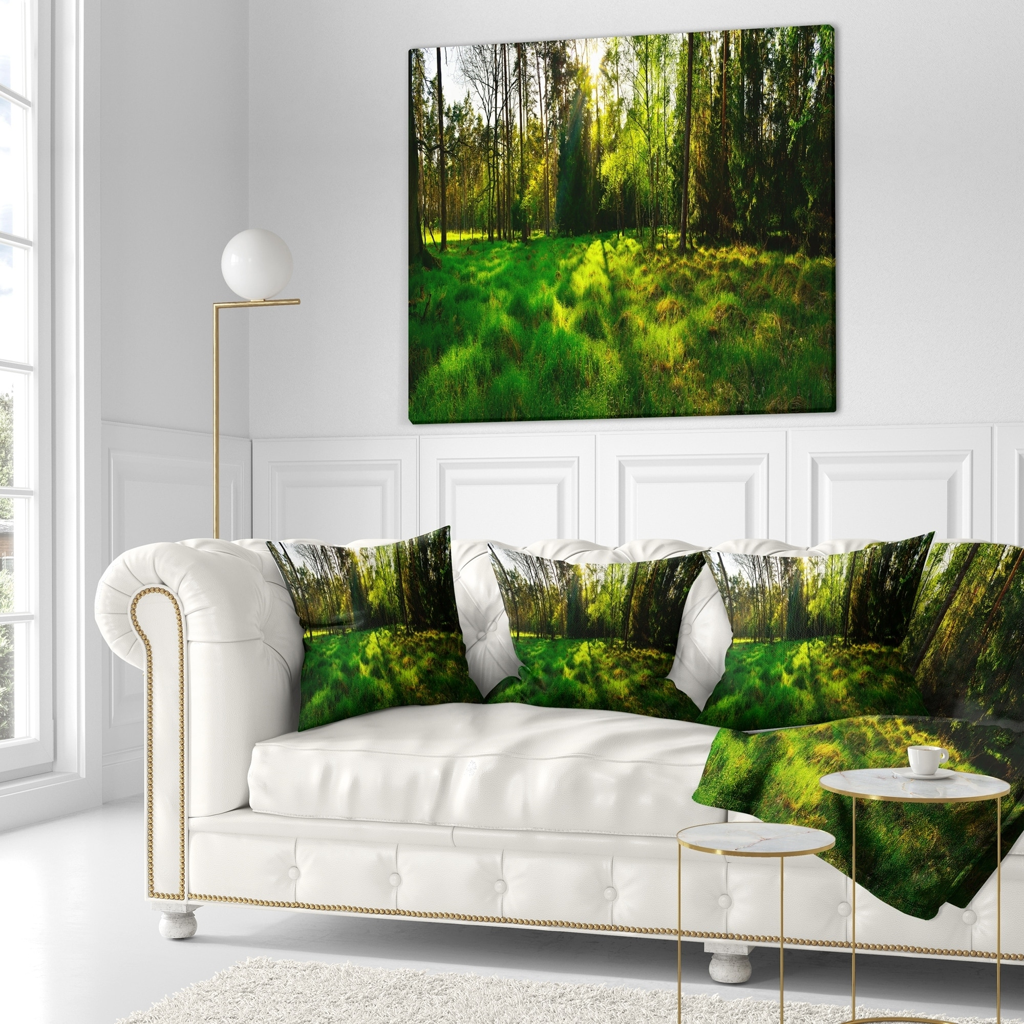 Designart Green Forest Sunset Panorama Landscape Printed Throw Pillow On Sale Overstock 20945109