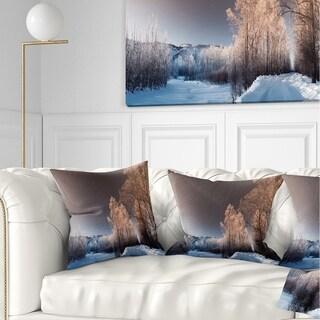 Designart Futuristic Winter Sky Landscape Photography Throw Pillow On Sale Overstock 20945119