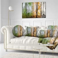 Designart 'Morning Forest Panorama' Landscape Photography Throw Pillow