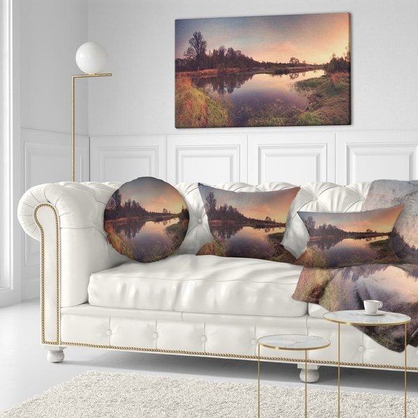 Designart 'Yellow Tinged Spring Mountains' Landscape Printed Throw Pillow