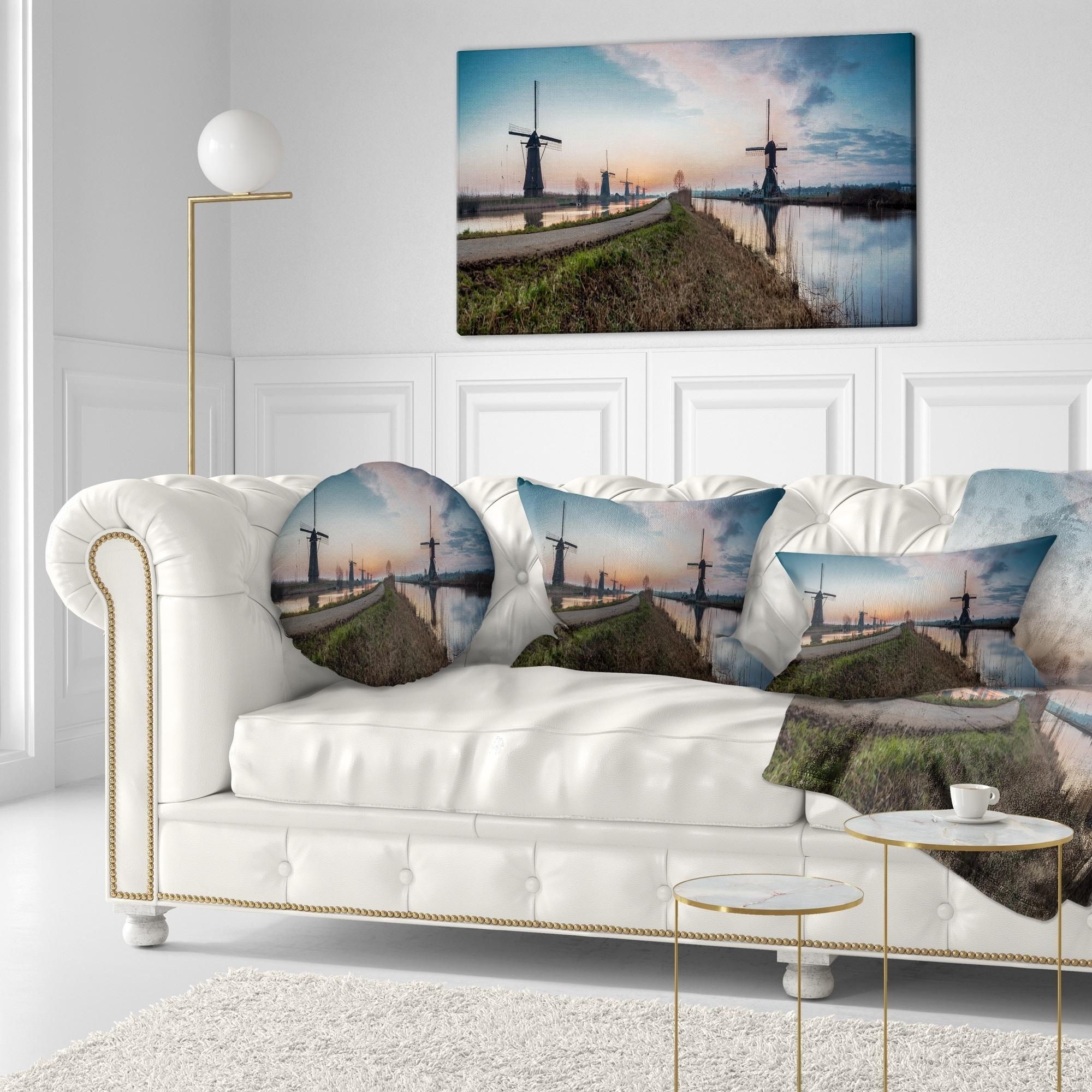 Designart Kinderijk Holland Panorama Landscape Printed Throw Pillow On Sale Overstock 20945156