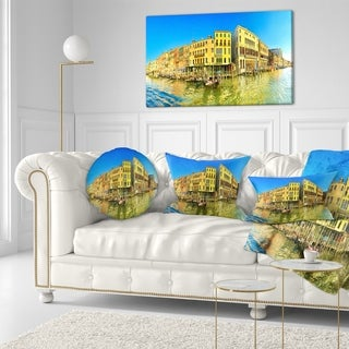 Designart 'Yellow Tinged Grand Canal Panorama' Cityscape Throw Pillow (More options available)