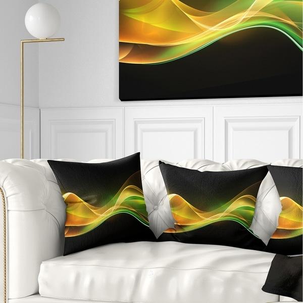 Designart '3D Gold Green Wave Design' Abstract Throw Pillow
