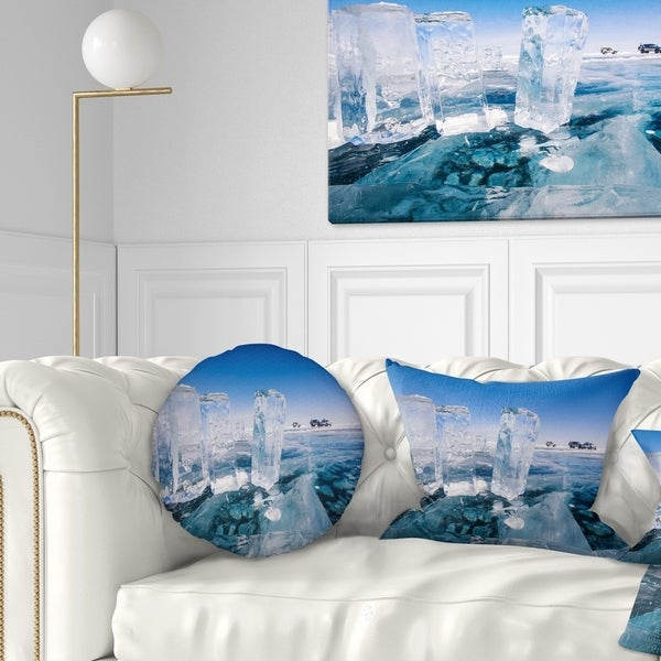Designart 'Blue Ice and Off road Cars' Landscape Printed Throw Pillow