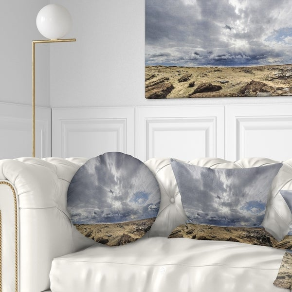 Designart Sky And Stones Under Dark Clouds Landscape Circle Wall Art Overstock 14249459