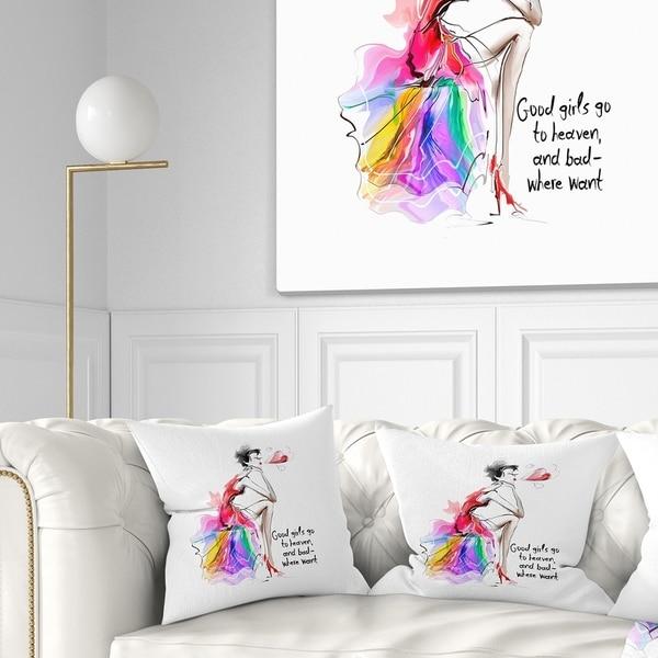 Designart 'Pretty Fashion Girl Pink' Abstract Portrait Throw Pillow