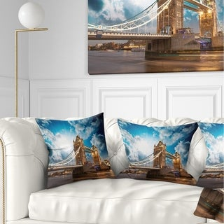 Designart 'Sunset Over Tower Bridge' Cityscape Photo Throw Pillow