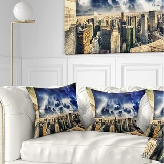 Designart 'Storm Above Manhattan Skyscrapers' Cityscape Photo Throw Pillow (More options available)