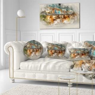Designart 'Villajoyosa Town Digital Painting' Cityscape Throw Pillow