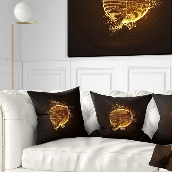 Designart 'Yellow Glowing Particles' Abstract Throw Pillow