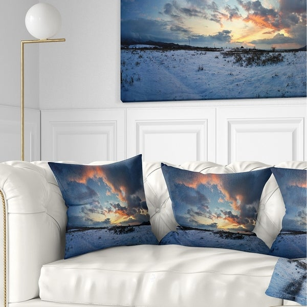 Designart 'Dark Winter Sky' Landscape Photography Throw Pillow