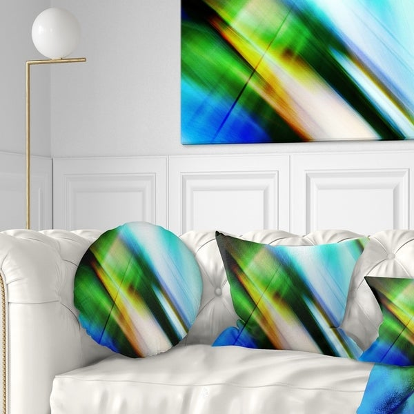 Designart 'Rays of Speed Blue Green' Abstract Throw Pillow