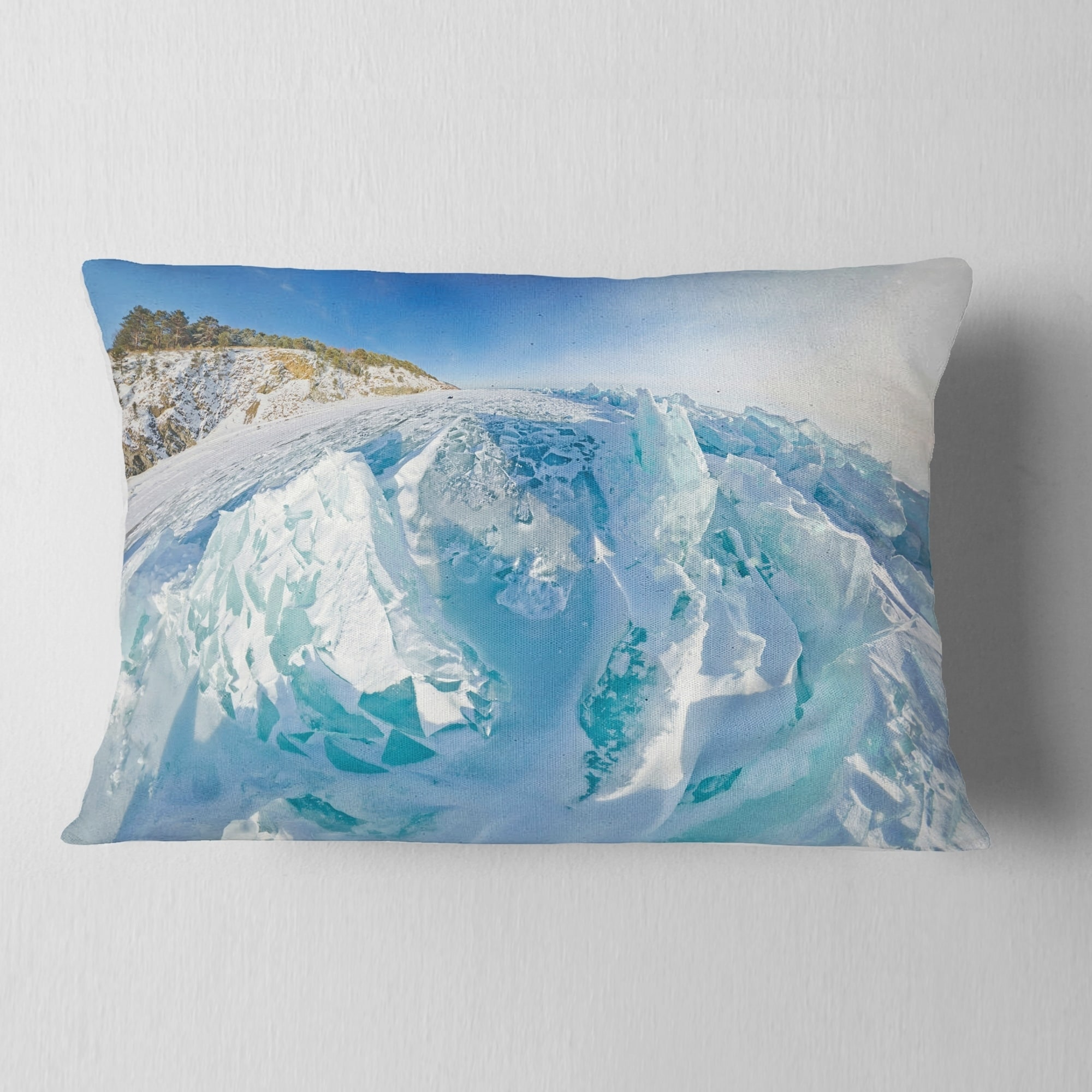 Designart Blue Ice Mountains In Lake Baikal Siberia Landscape Printed Throw Pillow On Sale Overstock 20945334