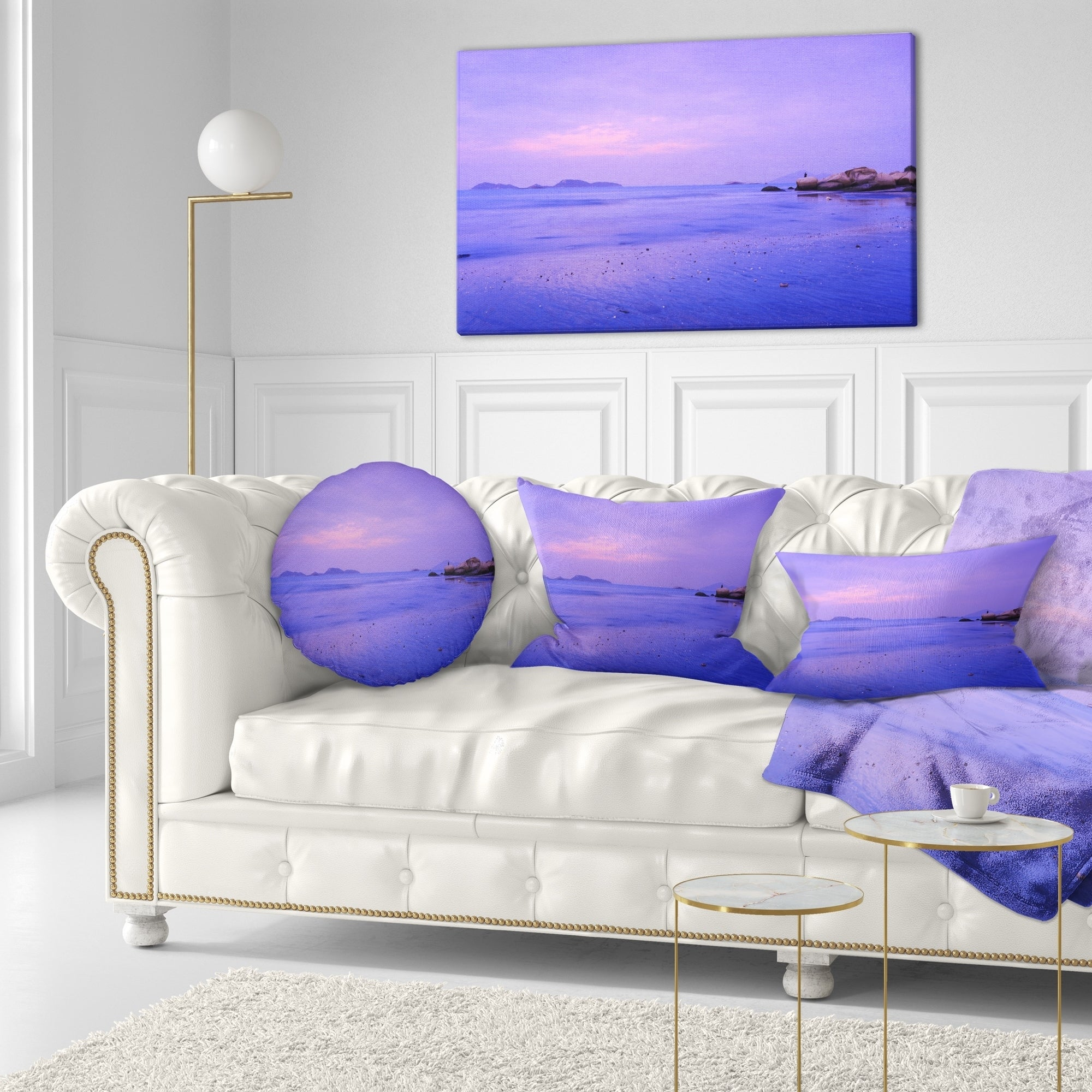 Designart Blue Sunset At Lung Kwu Tan Coastline Landscape Printed Throw Pillow On Sale Overstock 20945374